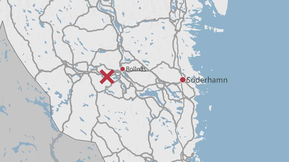 En karta över delar av Gävleborg där Bollnäs, Söderhamn samt ett rött kryss finns utplacerade.
