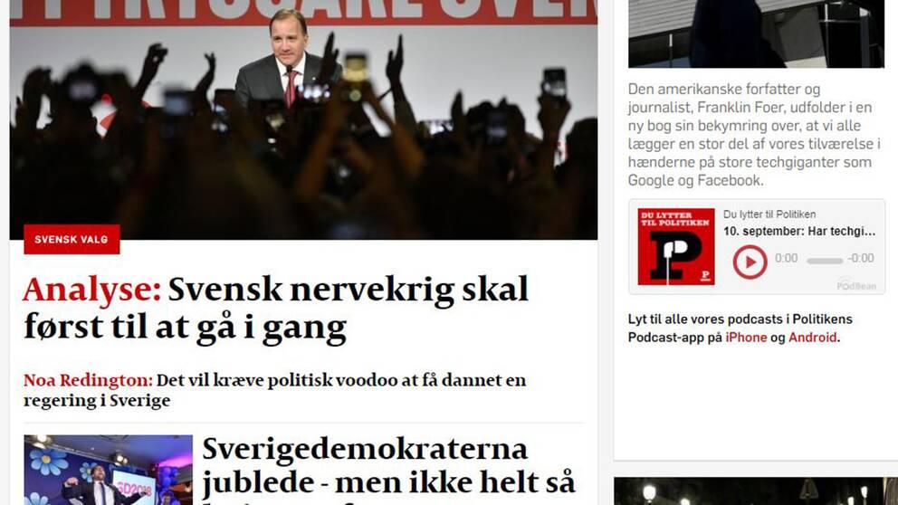 Så här skriver danska tidningen Politiken om svenska valet.