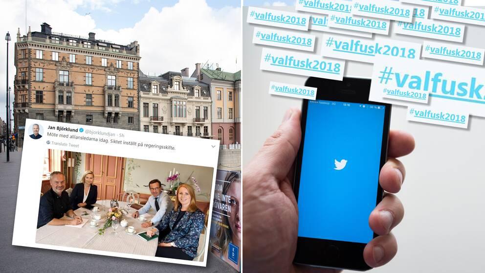 """""""Möte med alliansledarna idag. Siktet inställt på regeringsskifte"""" twittrade Jan Björklund (L)."""