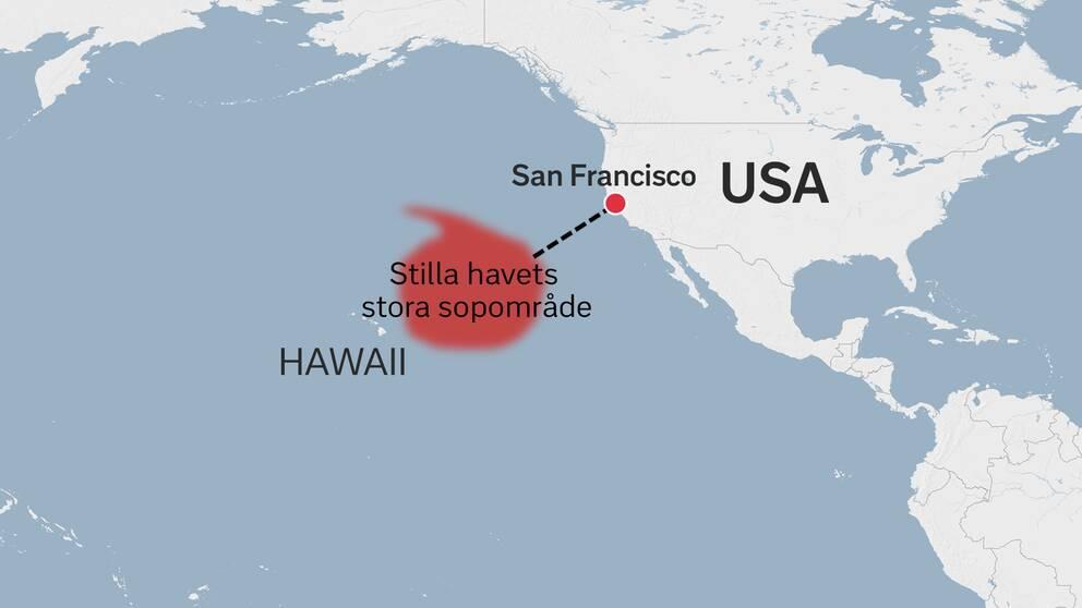 Karta över Hawaii, sopområdet och USA.
