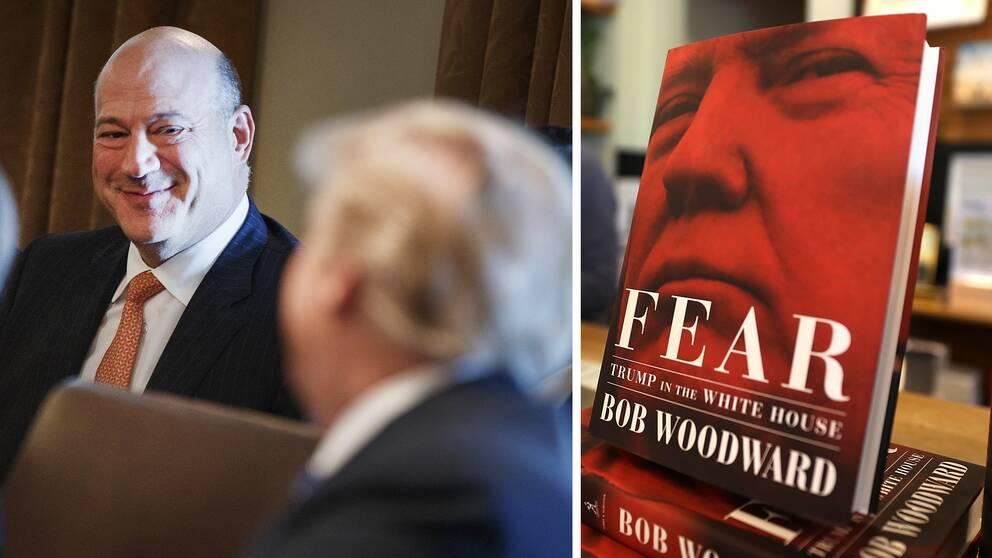 Gary Cohn (till vänster) arbetade tidigare i Vita huset, och medverkar i nya boken om Trump, men är kritisk till den bild som målas upp av författaren Bob Woodward