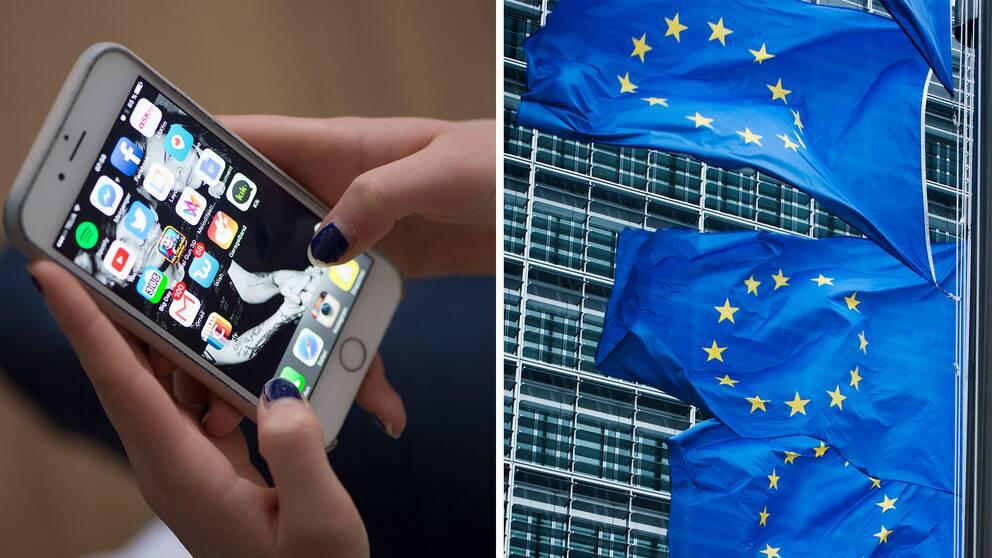 En telefon och EU-flaggor