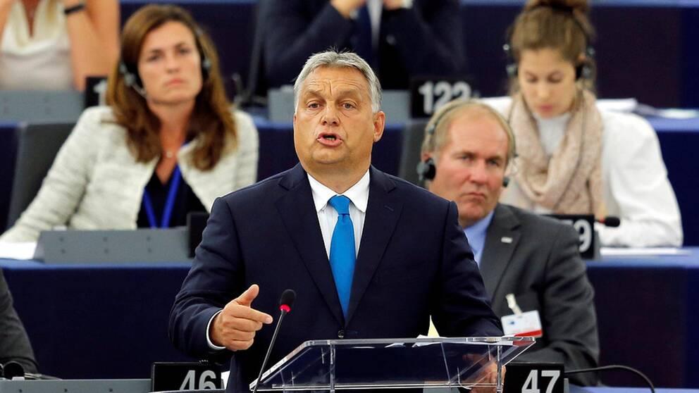 Ungerns premiärminister Viktor Orbán hävdade vid debatten i Europaparlamentet att Ungern kommer att fortsätta att skydda sina gränser.