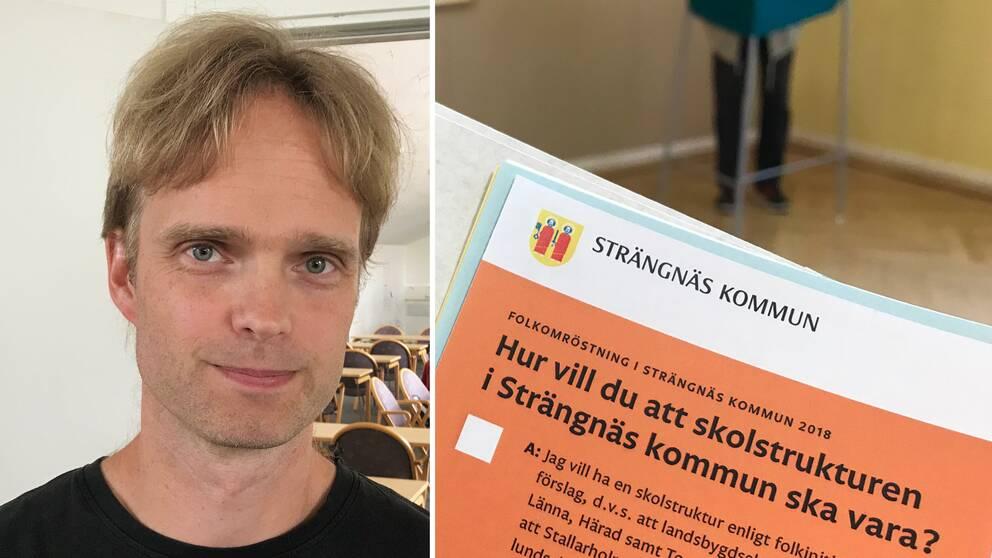 David Aronsson (V) samt en valsedel till folkomröstningen