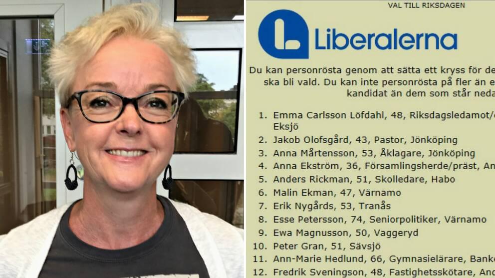 Anna Mårtensson (L) och valsedeln för liberalerna