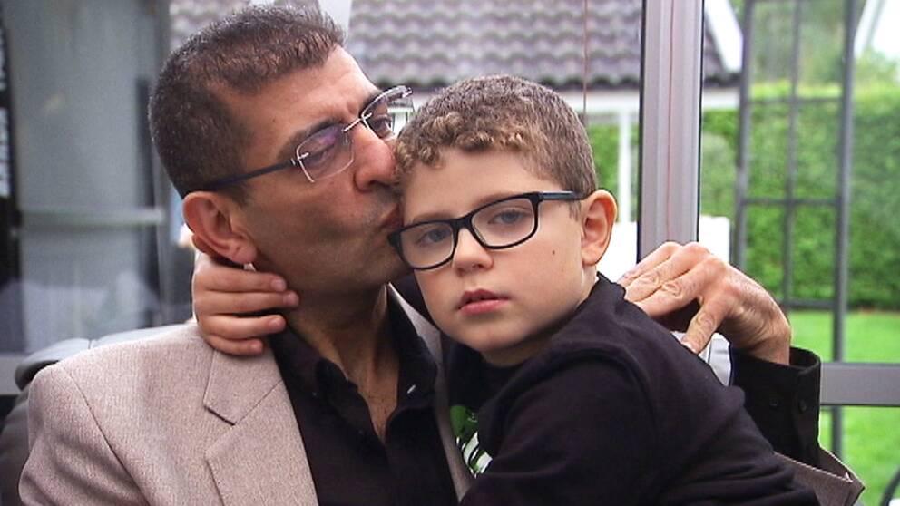 Khaled Arwadkiy med åttaårige sonen Mohamad Arwadkiy