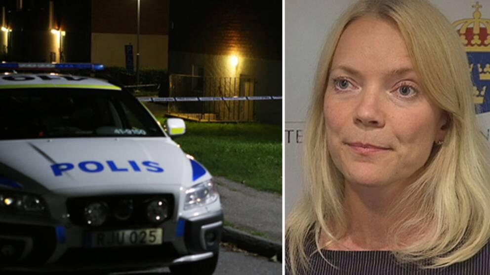 En polisbil vid den avspärrade källaren i Årby samt porträtt på Anna Asklöf