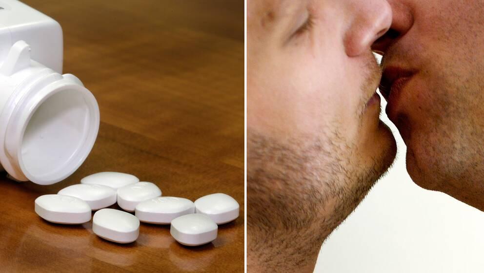 En burk med piller och två män som kysser varandra.