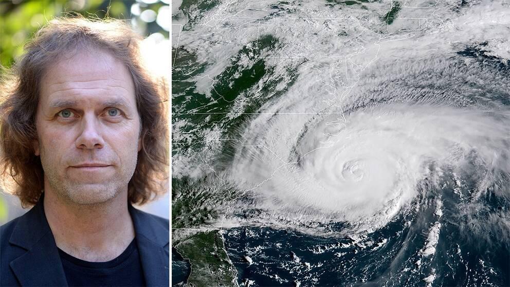 Pär Holmgren och en satellitbild över orkanen Florence.