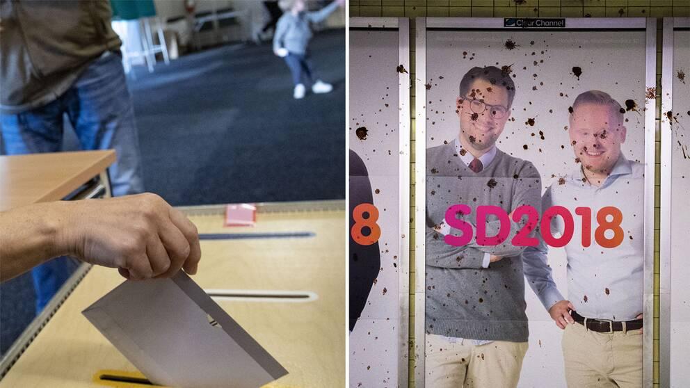 Polisen har fått in över tusen anmälningar av skadegörelse i samband med året val. Här en av SD:s valaffischer i Stockholms tunnelbana.