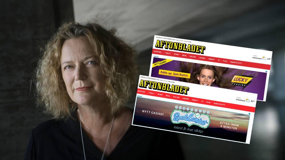 Lena K Samuelsson, Aftonbladets publisher, har avböjt att kommentera tidningens spelannonser. Till höger två av de spelannonser från senaste veckan som direkt eller indirekt bryter på branschens egna riktlinjer för spelreklam.