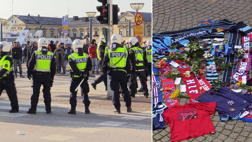 Stort polispådrag i Helsingborg. Blommor och supportertröjor på platsen för mordet.