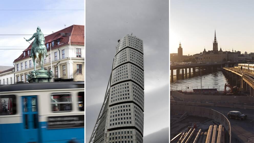 Bilder från Göteborg, Malmö och Stockholm.