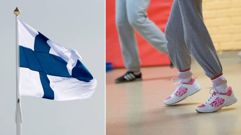 Finlands flagga och skolbarn som springer. Arkivbild.
