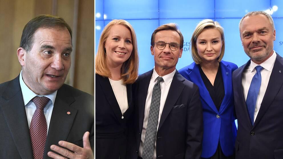 Delad bild: Först på statsminister Stefan Löfven (S), sedan en på partiledarna i Alliansen.