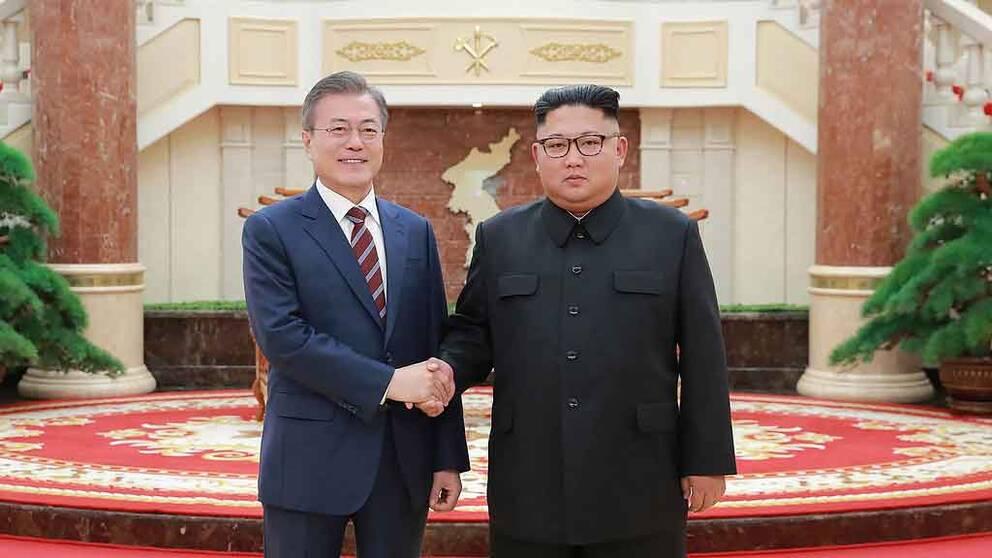 Sydkoreas Moon Jae-In och Nordkoreas Kim Jong-Un skakar hand.