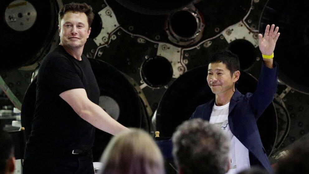SpaceX:s grundare Elon Musk och Yusaku Maezawa