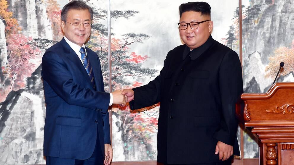 Moon Jae-In och Kim Jong Un.