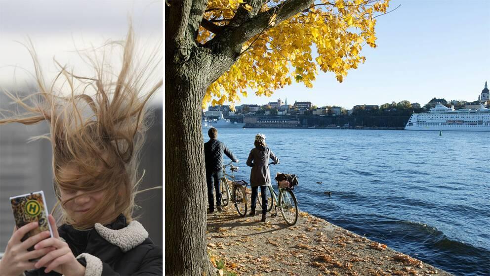 En kvinna med blåst i håret och ett par som promenerar i höstigt landskap.