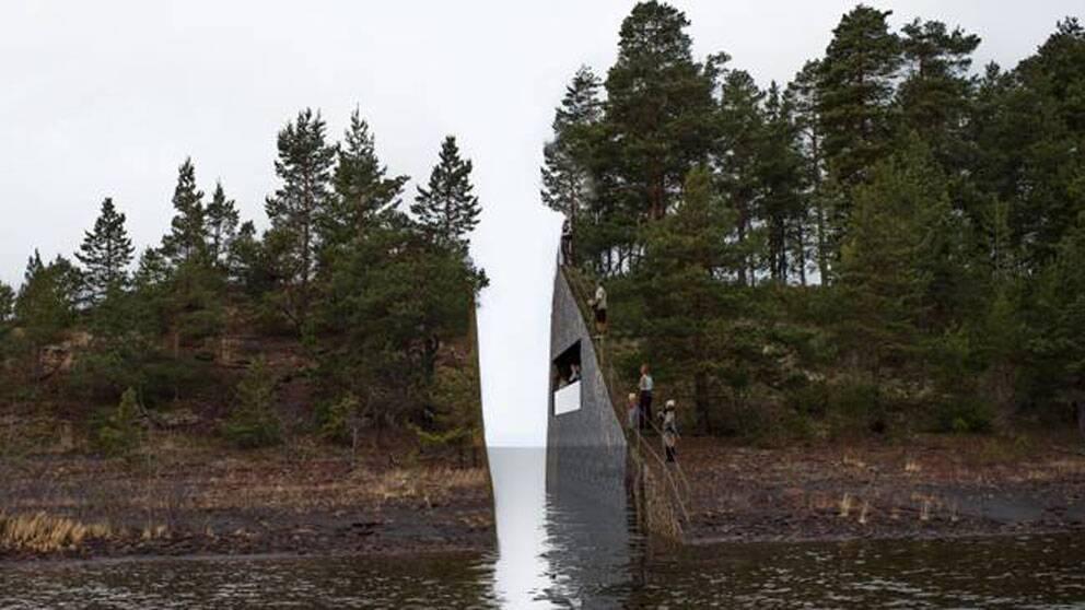 Minnesmärket vid Utøya som det är tänkt att se ut när det är klart.