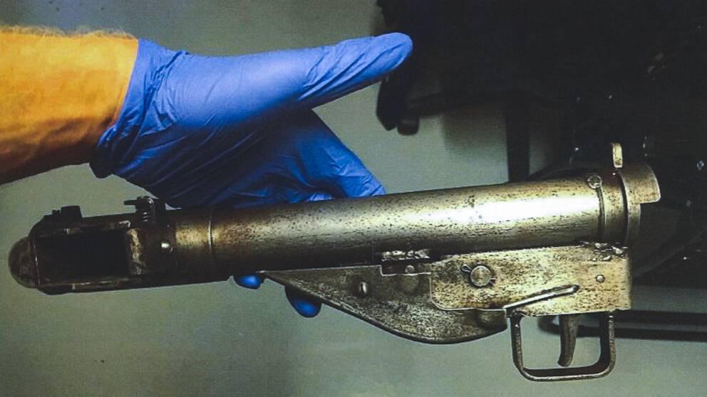 Bild på kulspruta från Polisens förundersökning.