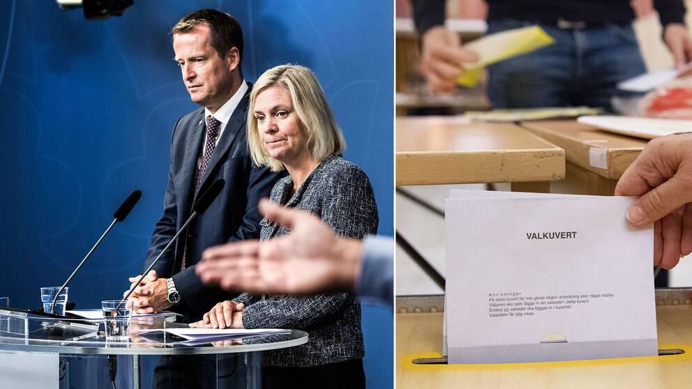 Anders Ygeman (S) och Magdalena Andersson (S) samt ett valkuvert