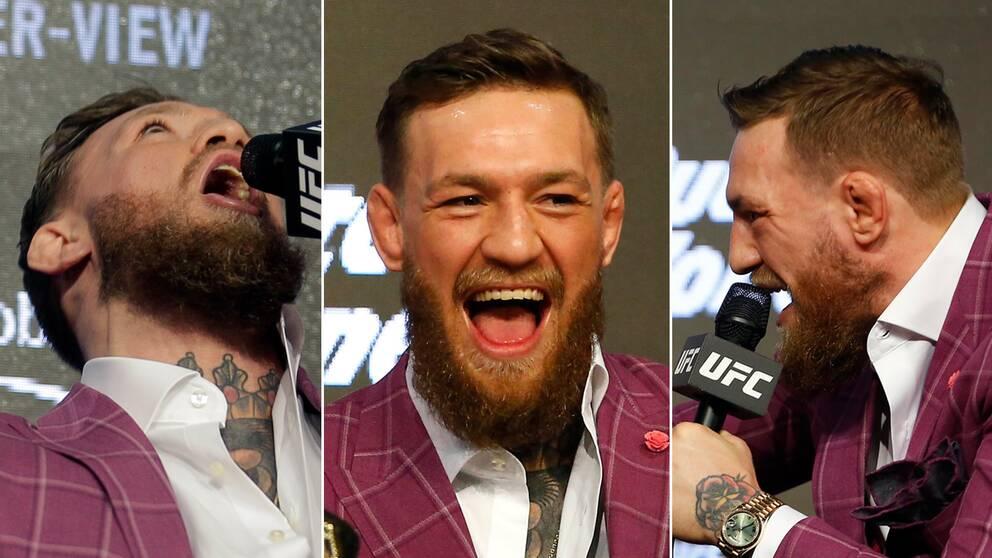 Conor McGregor som skrattar, skriker och tittar upp i taket.