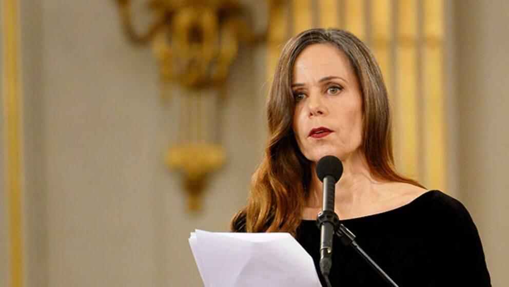 Sara Danius i samband med att hon installerades i Svenska Akademien.