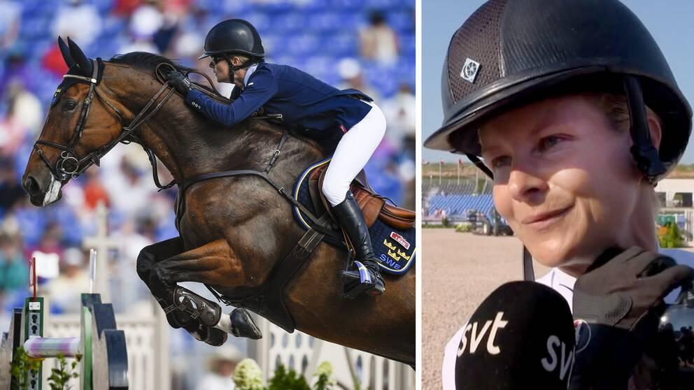 """Malin Baryard-Johnsson kunde efter lagtävlingen glädjas åt silvermedaljen, men tyckte ändå att det kändes """"lite snöpligt""""."""