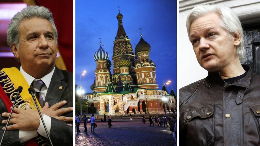 Lenin Moreno, president i Ecuador, hade en plan på att få ut Julian Assange (höger) ur Storbritannien genom att ge honom diplomatstatus och sedan skicka honom till Moskva, enligt Reuters.