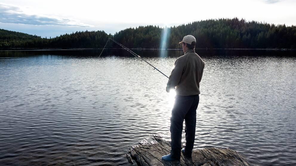 En man står vid ett vattendrag och fiskar.