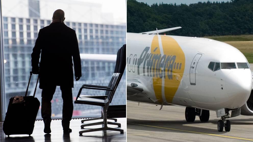 En man med en resväska och ett flygplan