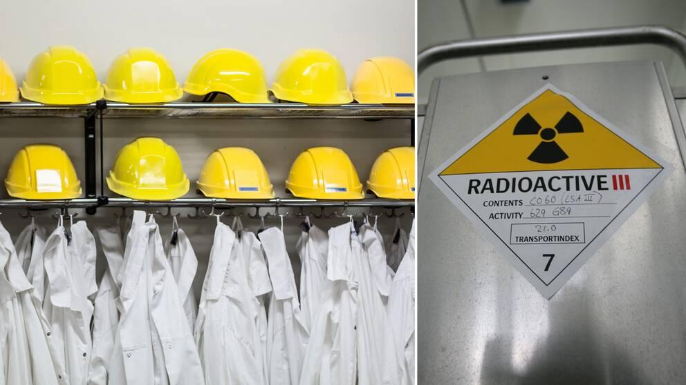 Skyddskläder och hjälmar på rad i Barsebäcks karnkraftverk efter stängningen. Till höger en kontainer med radioaktivt driftavfall på väg till slutförvaring. Arkivbilder.