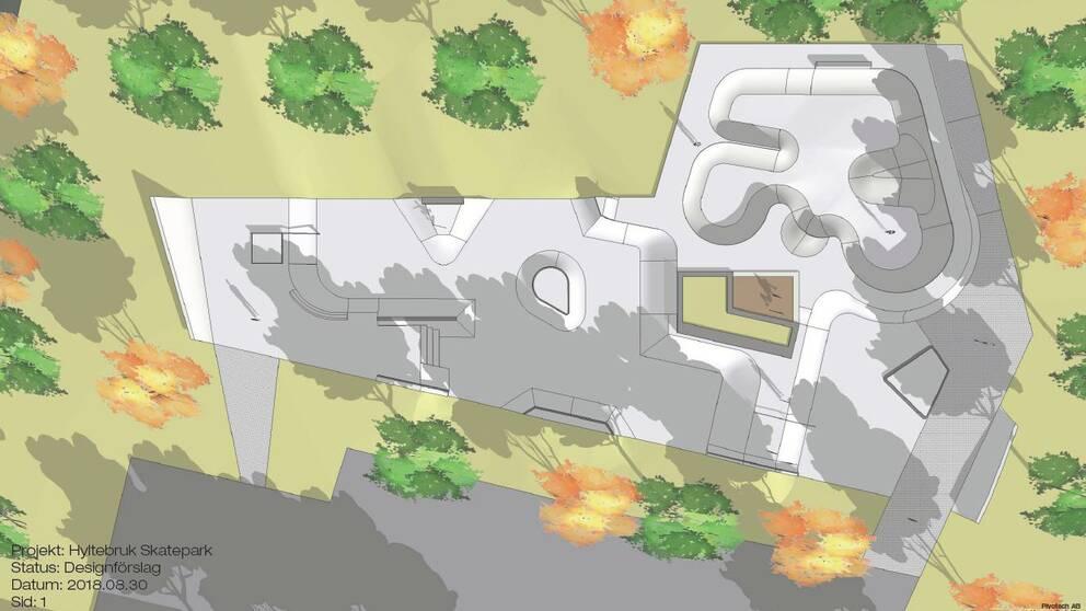 Ritningar för skatepark i Hyltebruk.