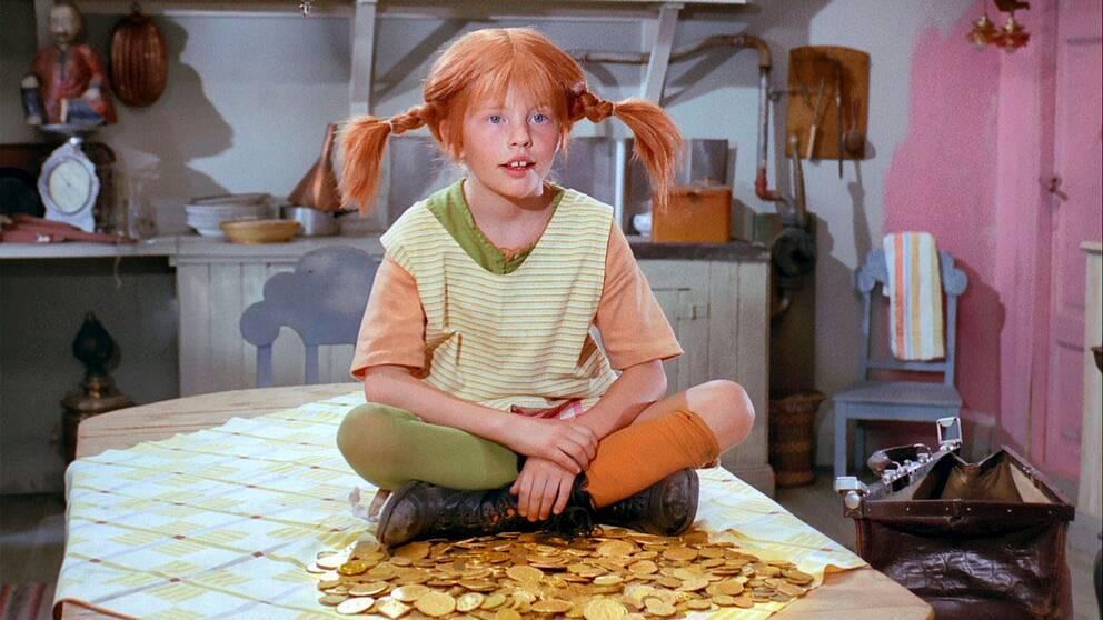 """Inger Nilsson som Pippi i tv-serien """"Pippi Långstrump"""" från 1969, som visades i Sveriges Television."""