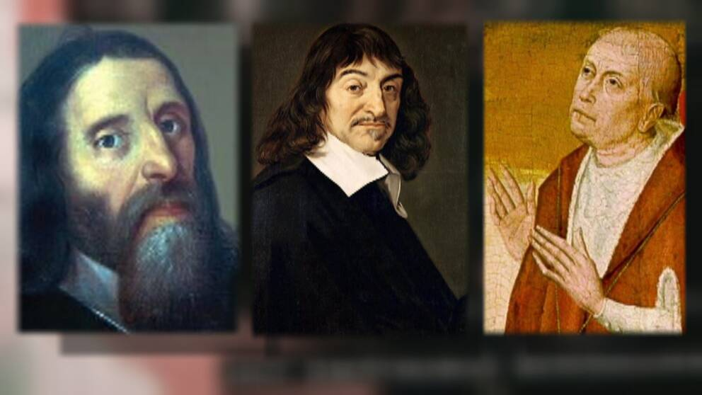 Giordano Bruno (1548-1600), René Descartes (1596-1650) och Nicholas Cusanus (1401-1464)