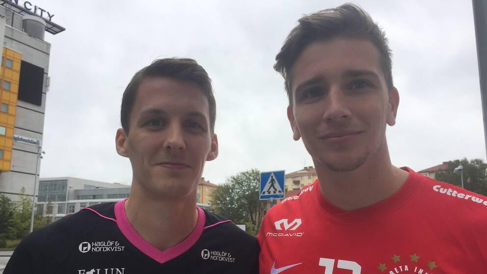 Faluns Emil Johansson och Storvretas Mattias Samuelsson räknar med att göra upp om SM-guldet i innebandy.