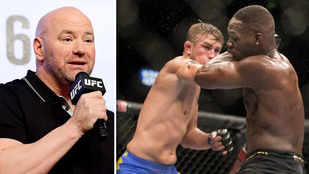 UFC-presidenten Dana White (vänster) vill se ett returmöte mellan Gustafsson och Jones innan året är slut.