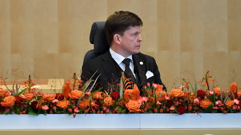 Talman Andreas Norlén (M) vid riksmötets öppnande.