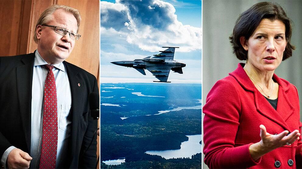 Peter Hultqvist (S) reagerar kraftigt på SVT:s avslöjande om att försvarsministern vill storsatsa på det svenska flygvapnet.