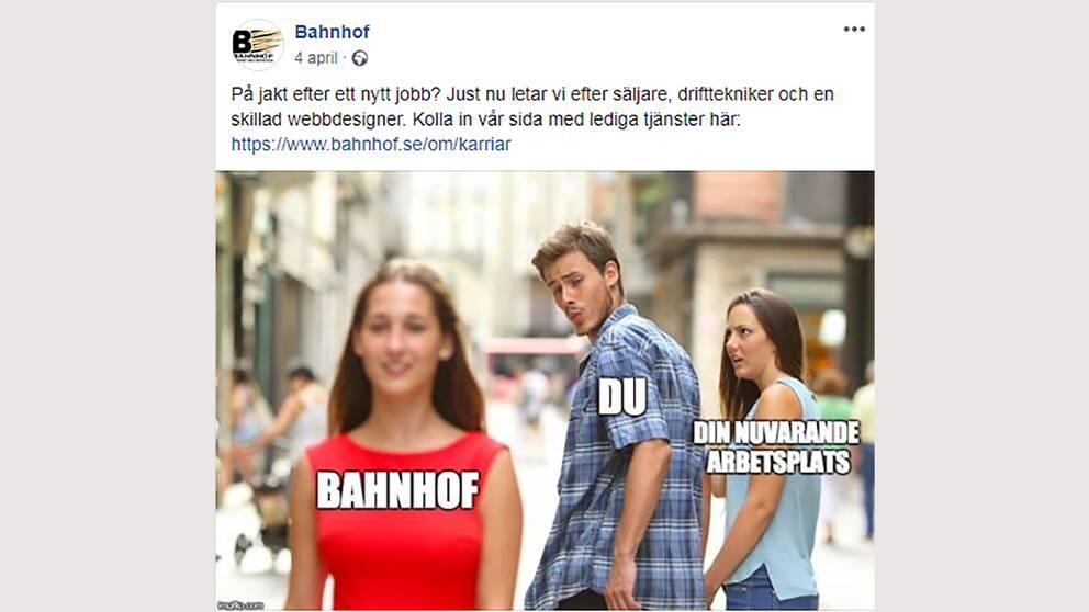Platsannonsen på Facebook som fällts av Reklamombudsmannens opinionsnämnd.