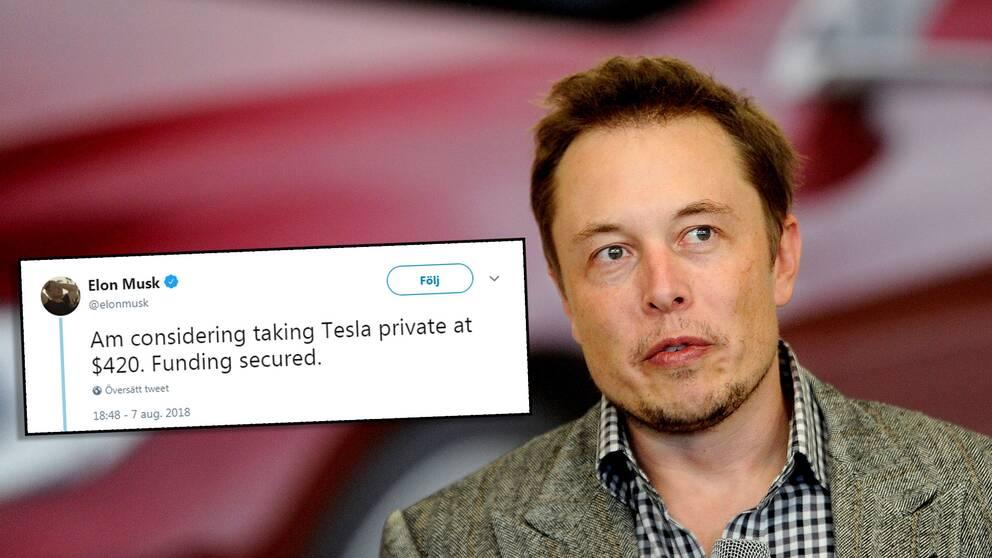 Elon Musk med tweeten om privatisering.