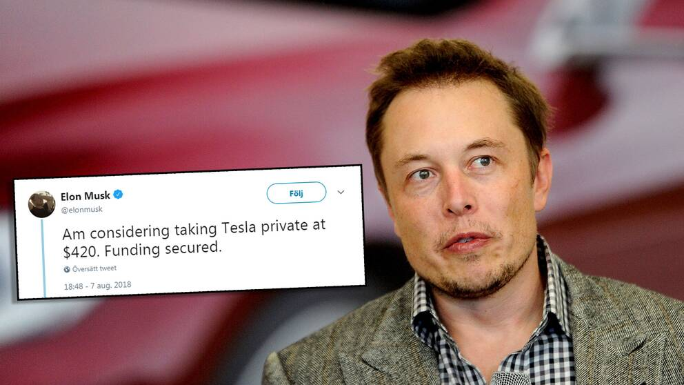 Elon Musk med tweeten om privatisering.