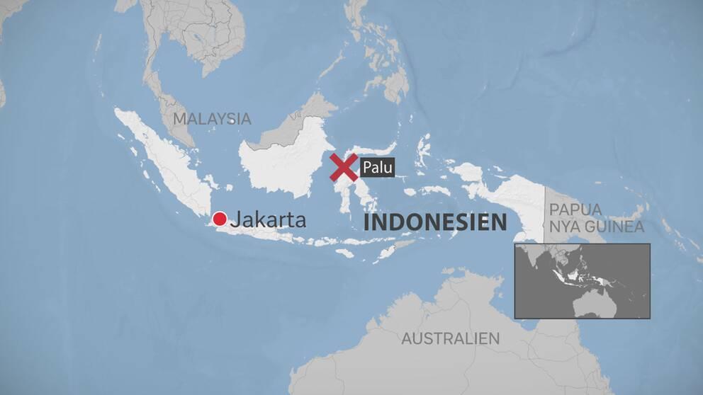 Karta över Palus läge i Indonesien
