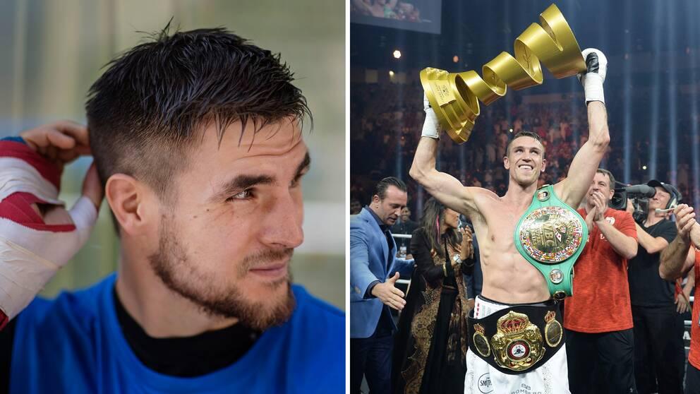 Erik Skoglund (vänster) och vinnaren av World Boxing Super Series, Callum Smith, till höger.