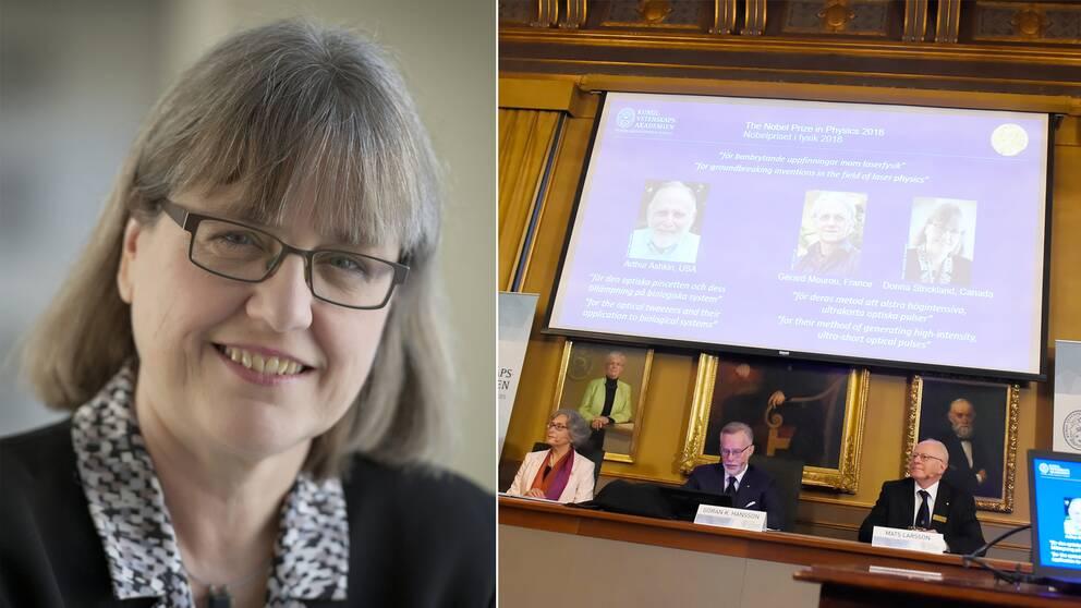 Arthur Ashkin, USA, samt Gérard Mourou, Frankrike, och Donna Strickland, Kanada, delar på Nobelpriset i fysik.