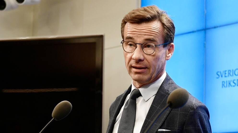 Ulf Kristersson håller presskonferens efter talmannens besked.