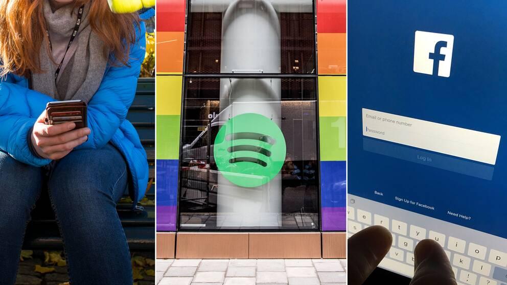 En ung kvinna med mobil, Spotifys huvudkontor och en person som loggar in på Facebook på en surfplatta