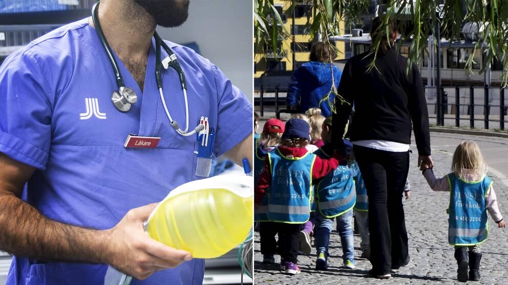 En läkare och en förskoleklass