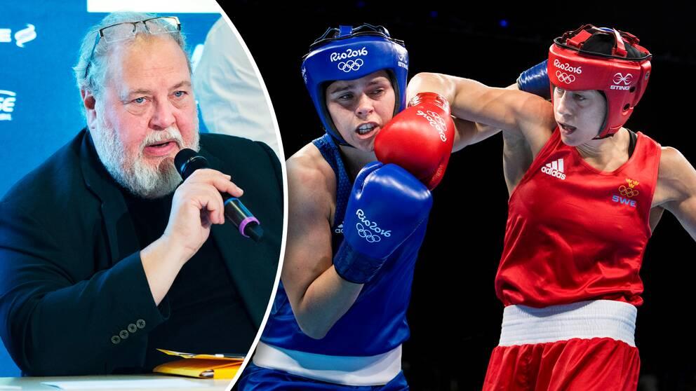 Boxningsoraklet Olof Johansson (vänster) och Sveriges Anna Laurell Nash (i rött) under OS i Rio 2016.